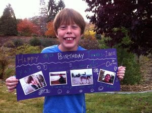 Thomas with 9th Birthday Poster